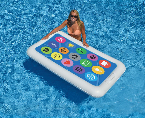 """68"""" Inflatable White and Blue Smart Phone Swimming Pool Float - IMAGE 1"""