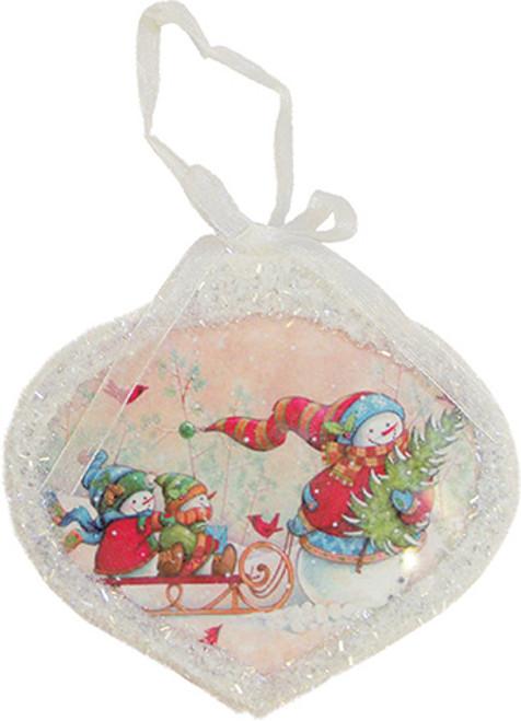 "5"" Glass Led Lighted Snowman Scene Christmas Onion Ornament - IMAGE 1"