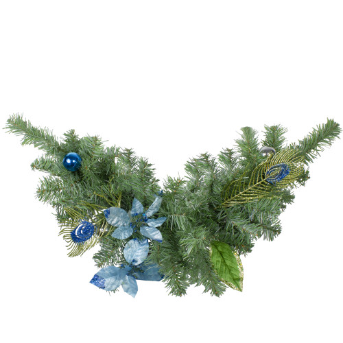 "24"" Regal Peacock Blue and Silver Poinsettia Artificial Christmas Swag - Unlit - IMAGE 1"