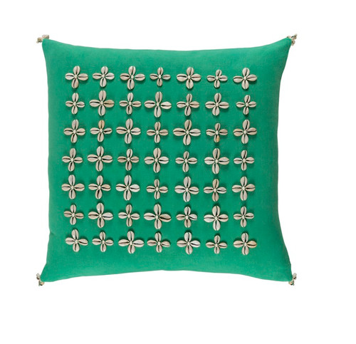 """20"""" Green and Beige Square Throw Pillow - Down Filler - IMAGE 1"""