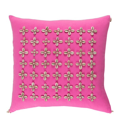 "18"" Pink and Beige Contemporary Square Throw Pillow - IMAGE 1"
