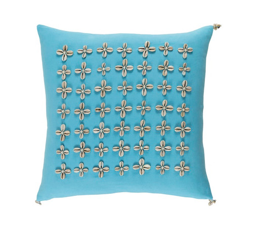 "18"" Blue and Brown Embroidered Square Throw Pillow - IMAGE 1"