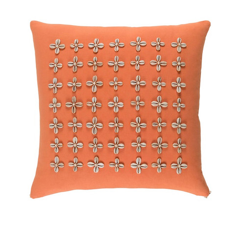 """18"""" Orange and Beige Contemporary Square Throw Pillow - IMAGE 1"""