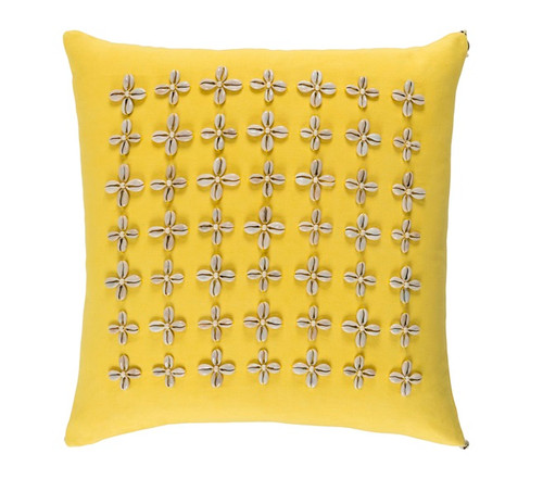 """20"""" Yellow and Beige Contemporary Square Throw Pillow - IMAGE 1"""
