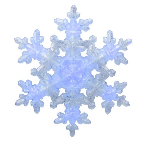 """9.25"""" White and Blue Lighted Sparkly Snowflake Christmas Tree Topper - Clear Lights - IMAGE 1"""