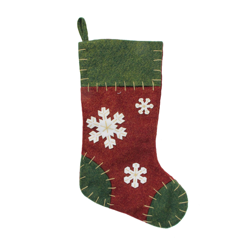 """20"""" Green and Red Snowflake Applique Christmas Stocking with Blanket Stitching - IMAGE 1"""