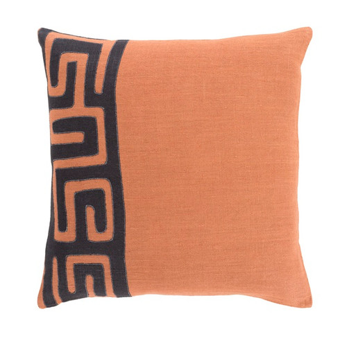 """18"""" Black and Burnt Orange Contemporary Square Throw Pillow - Down Filler - IMAGE 1"""