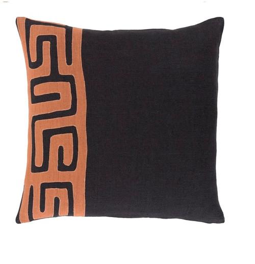 "18"" Black and Orange Contemporary Square Throw Pillow - IMAGE 1"