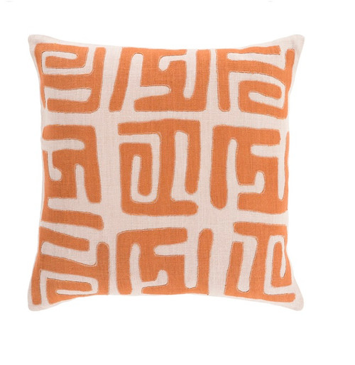 "22"" Burnt Orange and Tan Brown Contemporary Throw Pillow - Down Filler - IMAGE 1"