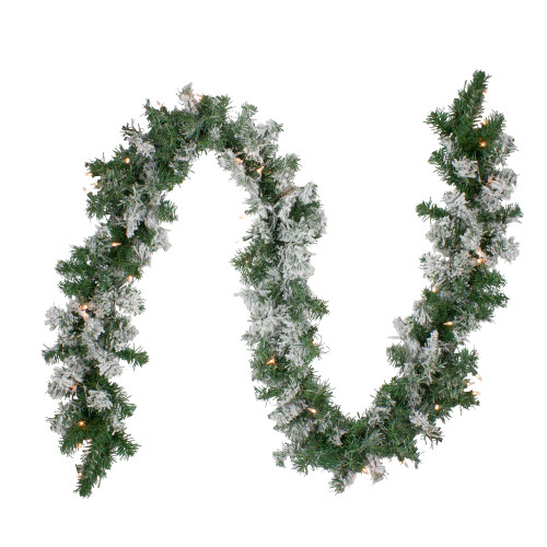"9' x 10"" Pre-lit Heavily Flocked Pine Artificial Christmas Garland - Clear Lights - IMAGE 1"