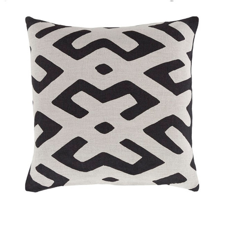 "22"" Black and White Contemporary Square Throw Pillow - Down Filler - IMAGE 1"