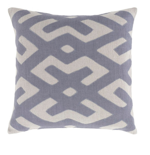 """22"""" Abalone Gray and Stone Blue Contemporary Square Throw Pillow - Down Filler - IMAGE 1"""