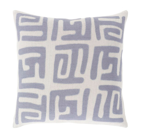 """20"""" Mist Gray and Blue Contemporary Square Throw Pillow - Down Filler - IMAGE 1"""