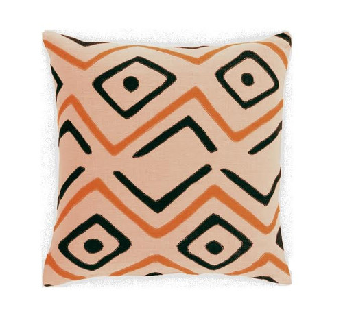 "22"" Tribal Rhythm Carnelian Orange, Cream and Licorice Black Woven Decorative Throw Pillow-Down Filler - IMAGE 1"