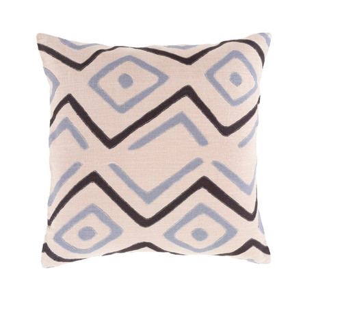 "22"" Beige and Black Contemporary Square Throw Pillow - Down Filler - IMAGE 1"