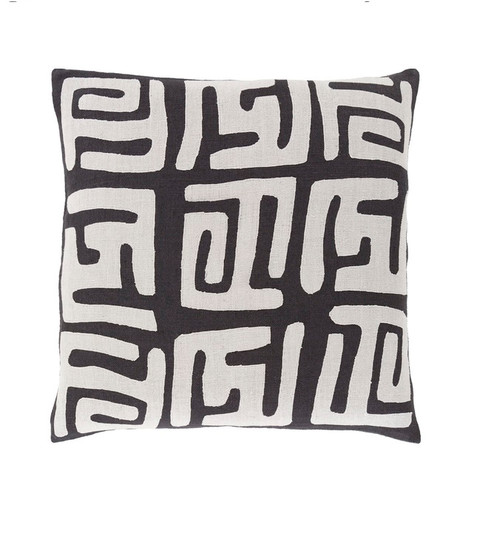 """20"""" White and Black Contemporary Square Throw Pillow - IMAGE 1"""