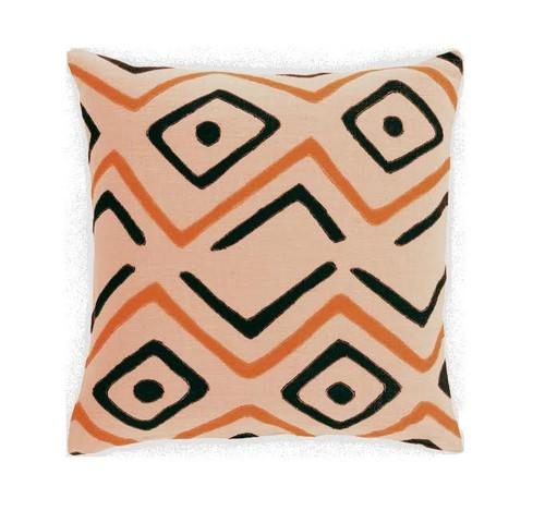 "20"" Burnt Orange and Black Contemporary Square Throw Pillow - IMAGE 1"