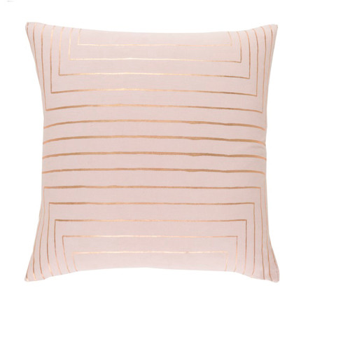"""18"""" Pink and Gold Contemporary Square Throw Pillow - IMAGE 1"""