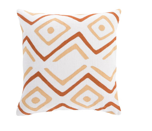 """22"""" Burnt Orange and Beige Contemporary Square Throw Pillow - Down Filler - IMAGE 1"""