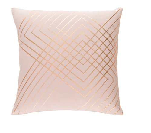 """20"""" Blush Pink and Gold Woven Throw Pillow - Down Filler - IMAGE 1"""
