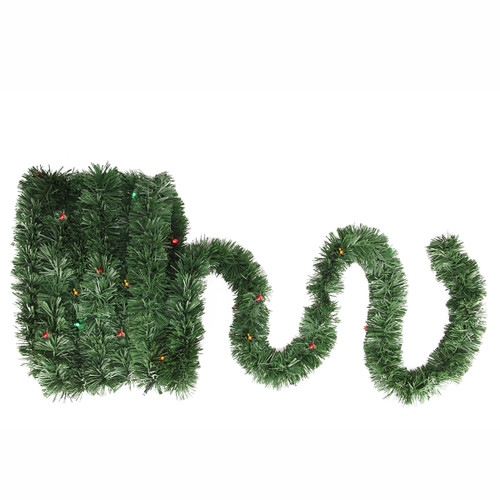 18' Pre-Lit Battery Operated Twinkling Green Pine Artificial Christmas Garland - Multi LED Lights - IMAGE 1