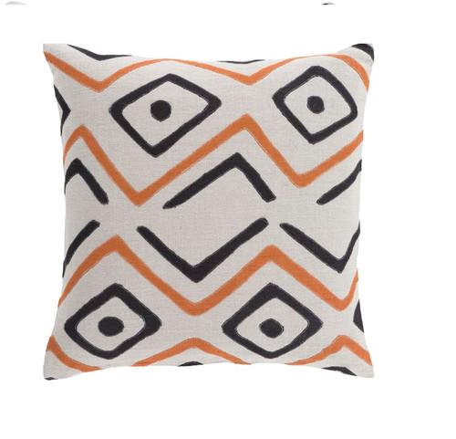 "22"" Tribal Rhythm Carnelian Orange, Cream and Polar White Woven Decorative Throw Pillow-Down Filler - IMAGE 1"