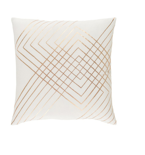 """18"""" Blush Pink and Rust Brown Square Throw Pillow - Down Filler - IMAGE 1"""