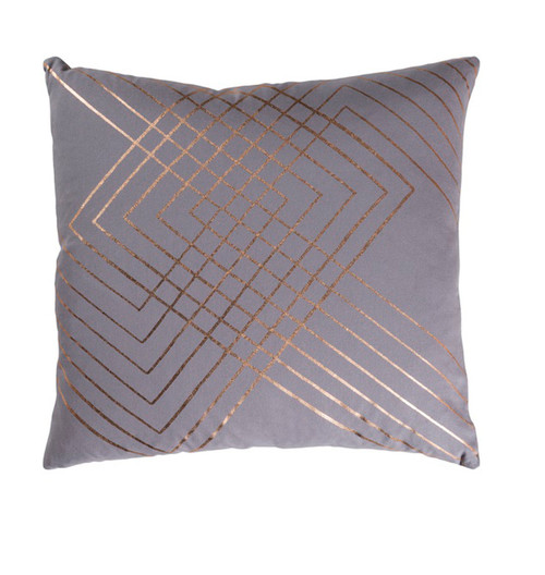 "18"" Gray and Copper Brown Contemporary Square Throw Pillow - IMAGE 1"