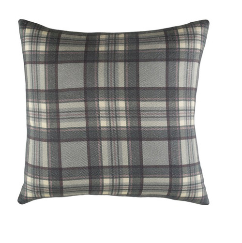 "20"" Gray and Green Plaid Digitally Printed Throw Pillow - IMAGE 1"