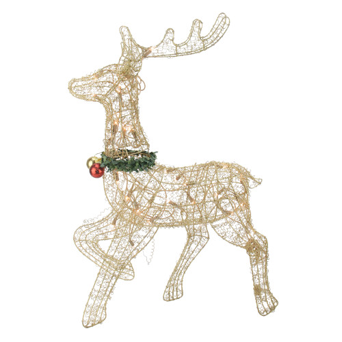 "25"" Gold Lighted Prancing Reindeer Outdoor Christmas Decor - IMAGE 1"