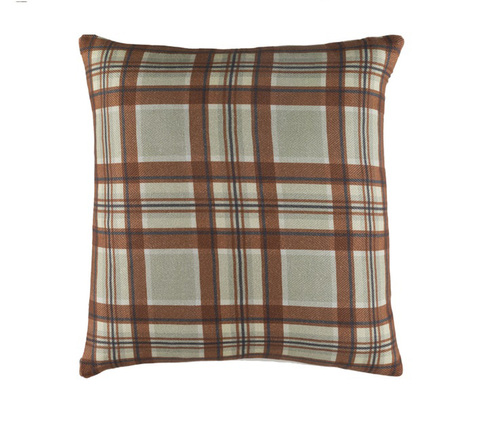 """18"""" Green and Brown Plaid Digitally Printed Throw Pillow - IMAGE 1"""