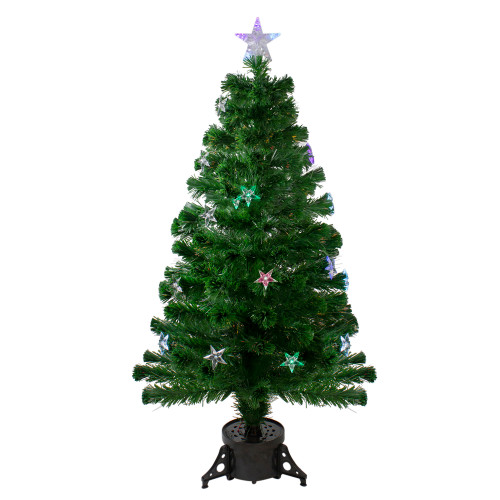 4' Pre-Lit LED Artificial Fiber Optic Christmas Tree With Color Changing Stars - IMAGE 1
