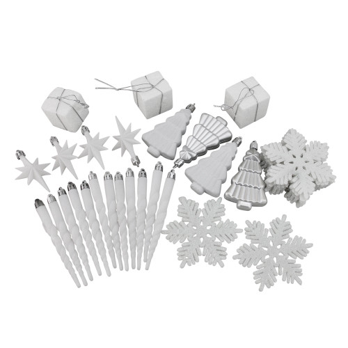 """125ct Winter White and Silver Shatterproof 4-Finish Christmas Ornaments 5.5"""" (140mm) - IMAGE 1"""