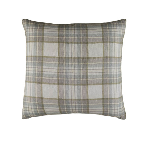 """22"""" Green and Gray Plaid Woven Throw Pillow - Down Filler - IMAGE 1"""