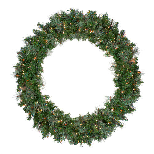 Pre-Lit Mixed Cashmere Pine Artificial Christmas Wreath - 48-Inch, Clear Lights - IMAGE 1