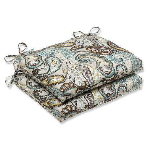 """Set of 2 Paisley Giardino Light Blue and Brown Outdoor Patio Chair Cushions 18.5"""" - IMAGE 1"""
