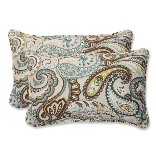 "Set of 2 Paisley Giardino Light Blue and Brown Outdoor Corded Throw Pillows 18.5"" - IMAGE 1"