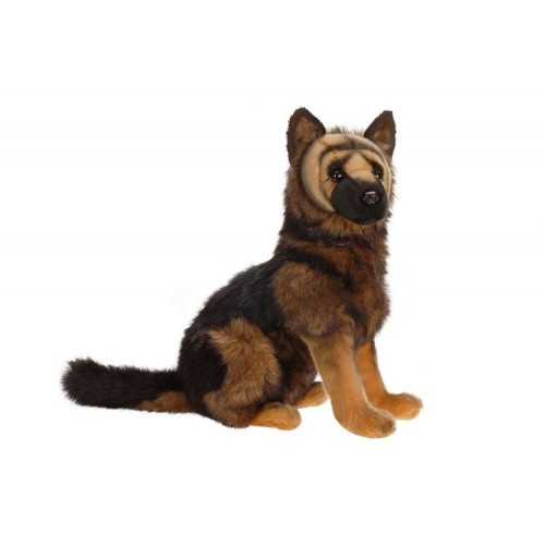 """Set of 2 Brown and Black Handcrafted German Shepherd Puppy Dog Stuffed Animals 16"""" - IMAGE 1"""