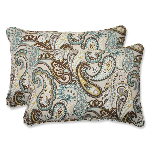 "Set of 2 Paisley Giardino Light Blue and Brown Outdoor Corded Throw Pillows 24.5"" - IMAGE 1"