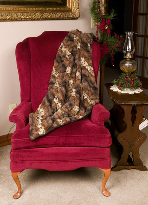 "Brown and Beige Majestic Animal Print Throw Blanket 50"" x 58"" - IMAGE 1"