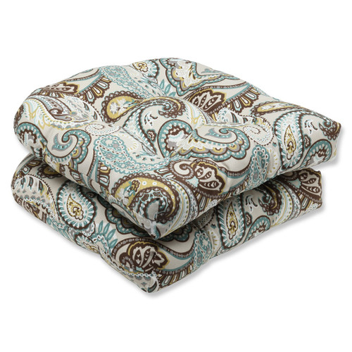"""Set of 2 Paisley Giardino Light Blue and Brown Outdoor Patio Wicker Chair Cushions 19"""" - IMAGE 1"""