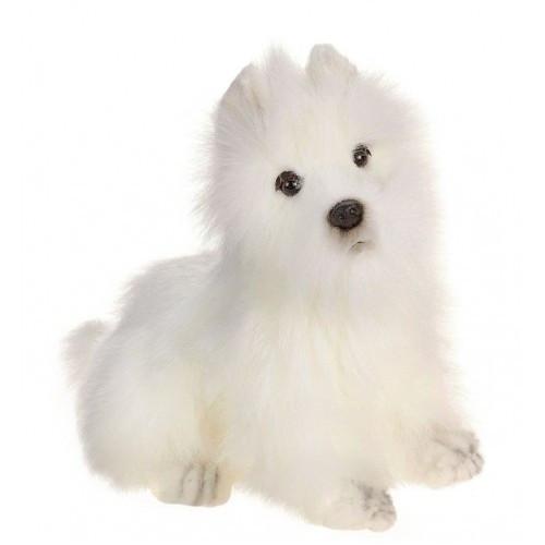 18 Lifelike Handcrafted Extra Soft Plush White Akita Spitz Dog