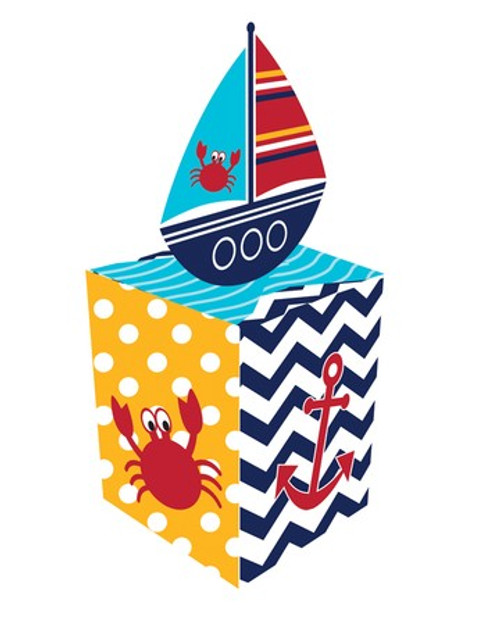 Club Pack of 48 Ahoy Matey Navy Blue and School Bus Yellow Chevron Cookie and Candy Party Favor Treat Boxes - IMAGE 1