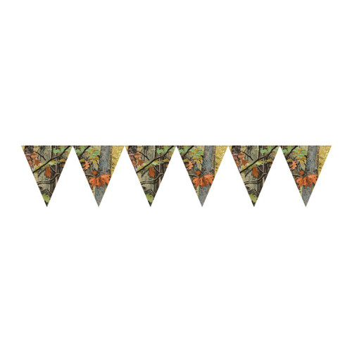 Pack of 6 Orange and Yellow Hunting Camo Flag Banners 10' - IMAGE 1