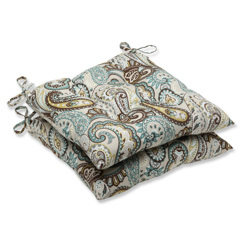 """Set of 2 Blue and Brown Patio Chair Cushions 19"""" - IMAGE 1"""