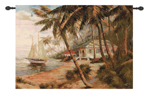 """Sepia Brown and Green Key West Hideaway with Sailboat Wall Art Hanging Tapestry 35"""" x 47"""" - IMAGE 1"""