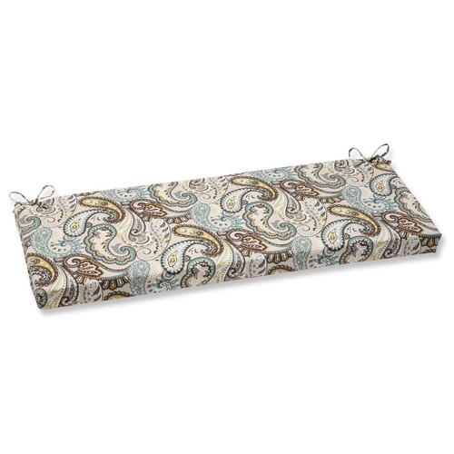 45 Paisley Giardino Light Blue And Brown Outdoor Patio Bench Cushion 31351148