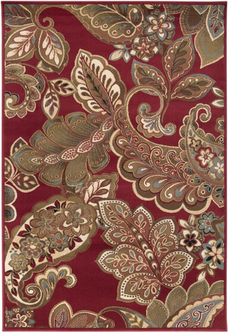 10' x 13' Paisley Red and Green Shed-Free Rectangular Area Throw Rug - IMAGE 1