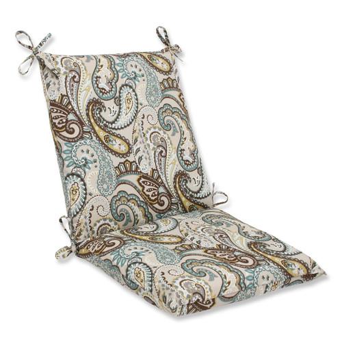 "36.5"" Paisley Giardino Light Blue and Brown Outdoor Patio Chair Cushion - IMAGE 1"