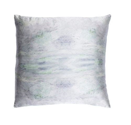 """22"""" Green and Gray Digitally Printed Square Throw Pillow - Down Filler - IMAGE 1"""
